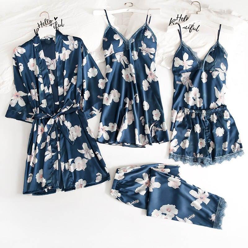 Women's Sleepwear 5 Pieces Pajamas Winter Warm Pajamas Set Thin Ice Silk Floral Printing Home Clothes Sexy Female Pyjamas Suit
