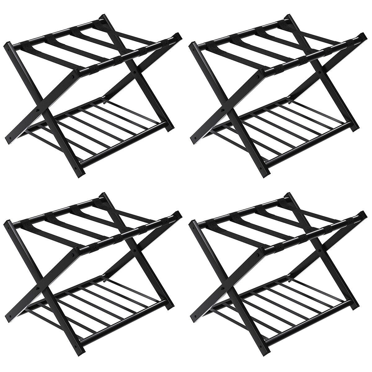 Costway Set Of 4 Folding Luggage Rack With Shelf Travel Suitcase Shoe Storage Holder