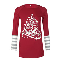 Merry Christmas Tops T-shirts for Women Letter Print Long Sleeve O-Neck Casual Winter T Shirt Female Roupas Feminina