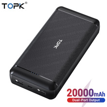 TOPK Power Bank 20000mAh External Battery Portable Charger Dual USB Po