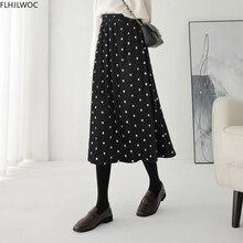Long-Skirts Spring Polka-Dot A-Line Winter High-Elastic Fashion Womens New-Design D1256