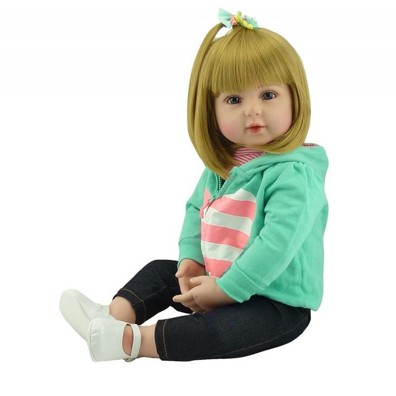 48/60cm Reborn poupée doux au toucher Silicone Reborn bébé poupées vinyle jouets grandes poupées pour filles bébé poupées avec cheveux blonds