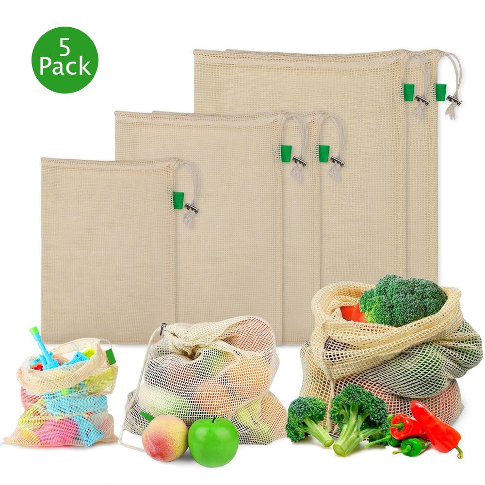 5pcs/set Cotton Mesh Produce Bags Reusable Washable Drawstring Shopping Bag Kitchen Fruit Vegetable Organizer Storage Bags