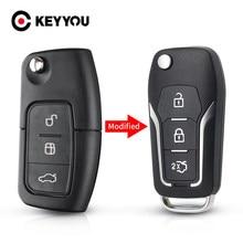 KEYYOU 3 bouton modifié rabat pliant télécommande voiture clé coque étui pour Ford Focus 2 3 mondeo Fiesta boîtier porte-clé