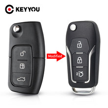 Keyyou 3 Knop Gewijzigd Flip Vouwen Afstandsbediening Autosleutel Shell Case Voor Ford Focus 2 3 Mondeo Fiesta Key fob Case