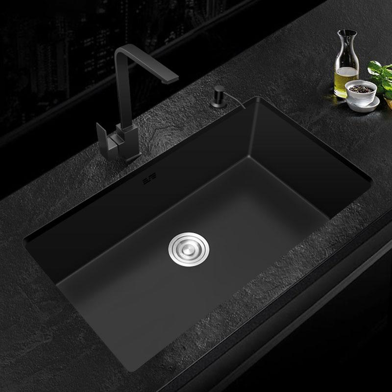 Черная кухонная раковина из нержавеющей стали 304, одиночная раковина, кухонная раковина для мытья овощей, черная раковина над стойкой или уд...