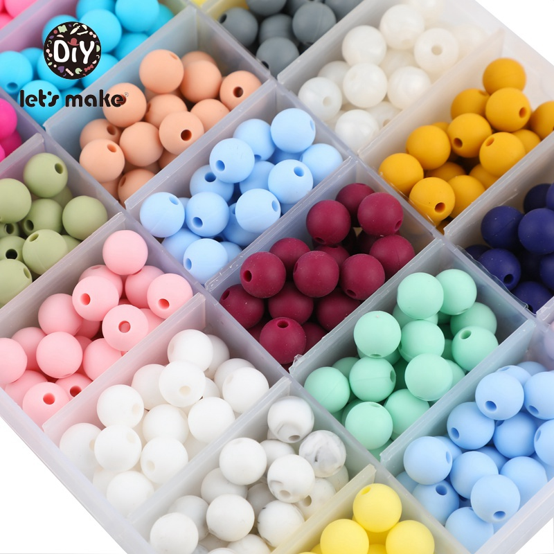 Let's Make Silicone Beads 9mm 30pcs Teether Bracelet PVC Free DIY Pacifier Chain Pendant Baby Products For Newborns Children