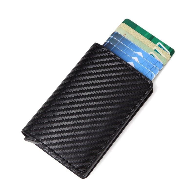 Men Metal Wallet RFID Double Aluminum Wallet Leather Credit Card Holder Automatic Pop Up Antitheft Purse Business ID Cardholder