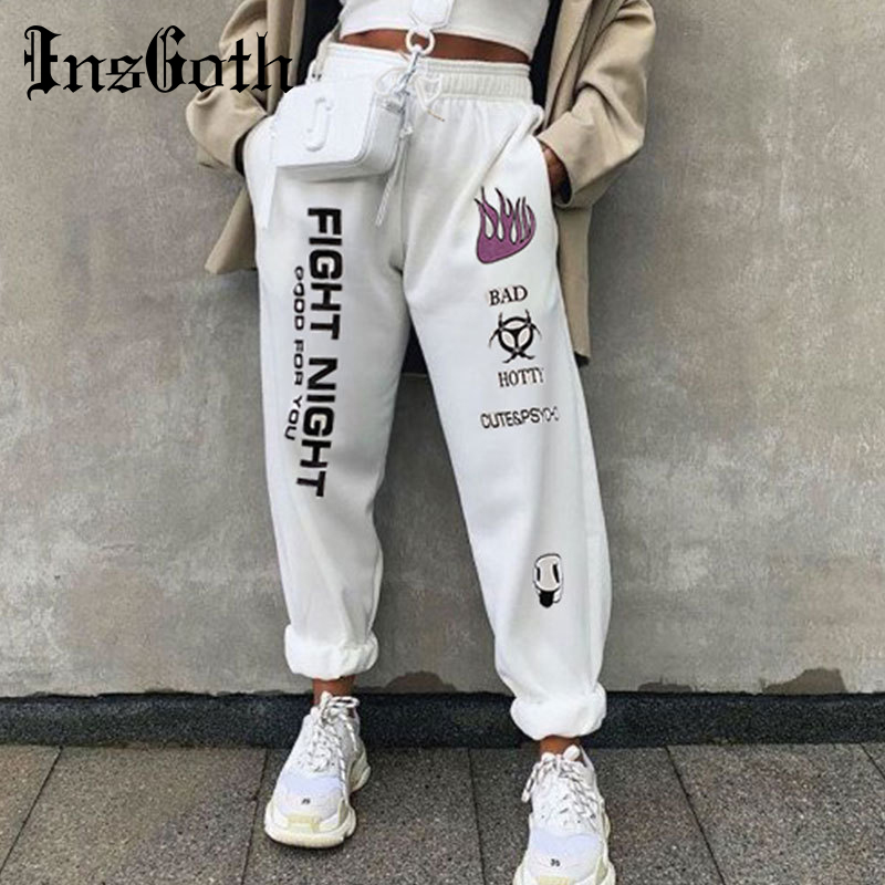 InsGoth Casual White Pants Streetwear Women Loose Harem Letter Printed Long Trousers Harajuku Female High Waist Long Trousers