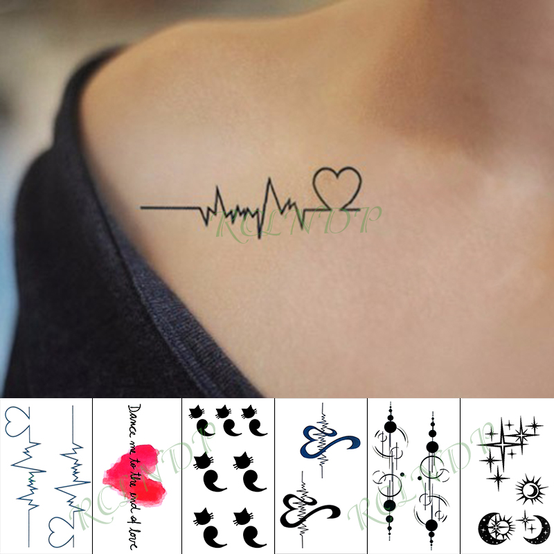 Waterproof Temporary Tattoo Sticker Red Love Heart Heartbeat Fake Tatto Hand Arm Foot Flash Tatoo For Kid Girl Men Women