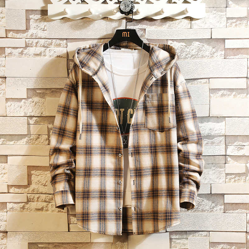 힙합 Streetwear 캐주얼 격자 무늬 셔츠 남성 긴 소매 고품질 2020 후드와 느슨한