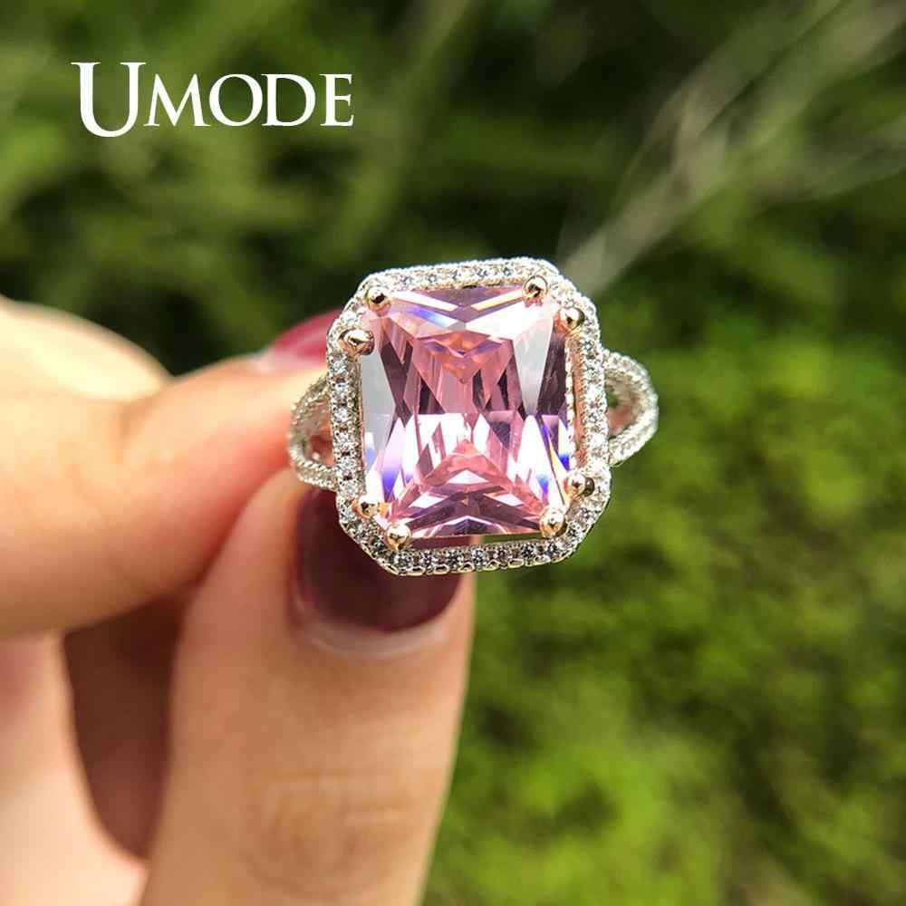 Umode noivado do vintage anéis de casamento amor rosa cz cúbico zircônia anel para a forma feminina de luxo jóias ur0555