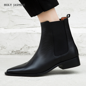 Genuine Leather Chelsea Ankle Boots Women Cow Leather Boot Pointed Toe Shoes Female Fashion Party High Heels Shoes Ladies Autumn high quality brand pointed toe chelsea boots genuine leather men ankle boots business office banquet fashion big size shoes
