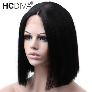 Middle Part Lace Wig 5 inch Deep Part perruque courte bresiliens 150% Brazilian Human Hair Wig perruque cheveux humain pas cher(China)