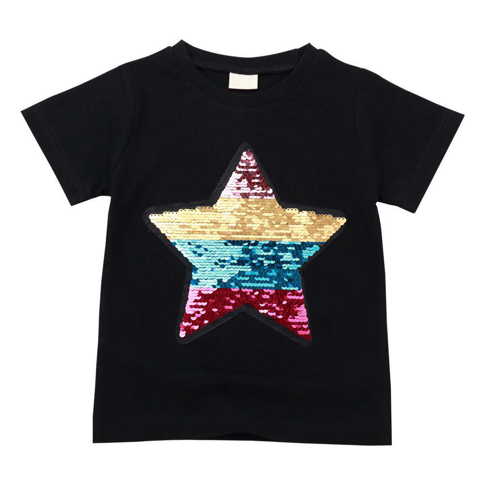 Kids Sequin tops girs star print T- Shirts Girls Shirts Casual Summer Clothing T-Shirt children's color changing clothes 4215 02 image