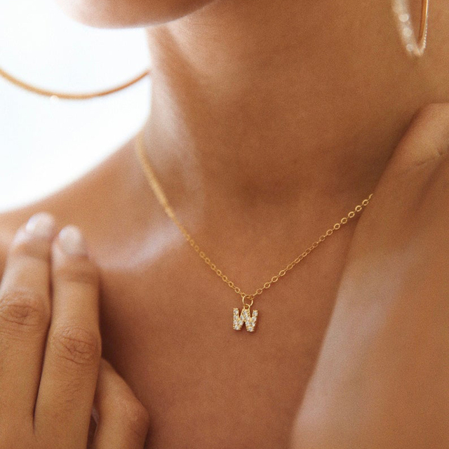 DODOAI Custom Diamond Necklace, Pave Crystal Letter Necklace,Personalized Name Necklace ,diamond letter pendant necklace Jewelry 2