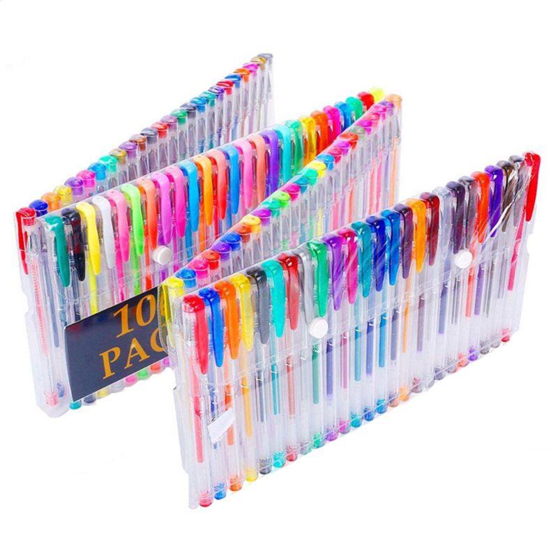 100 Colors Gel Pen Set Sketching Drawing Color Pens For School Office Stationery Metallic Pastel Neon Glitter Gel Pens