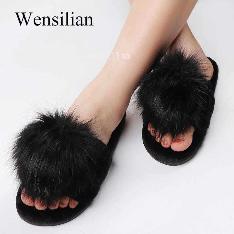 Women Fur Fluffy Sliders Slippers Slip On Flat Sandals Mules Summer Shoes UK HOT