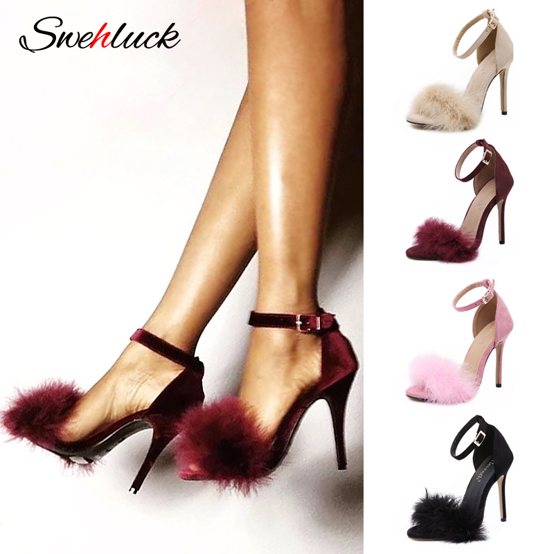 2020 Summer Open Toe Hairy Sandals Round Toe Suede New Stiletto Women's Shoes One Word Buckle Sexy High Heels