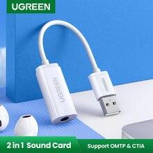 Ugreen Звуковая карта Внешний 3,5 мм USB адаптер USB для наушников динамик аудио интерфейс для ПК компьютера PS4 гарнитура USB звуковая карта