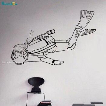 Buceo pared calcomanía vinilo pegatinas natación submarina arte Interior dormitorio extraíble decoración del hogar sala de estar YT2881