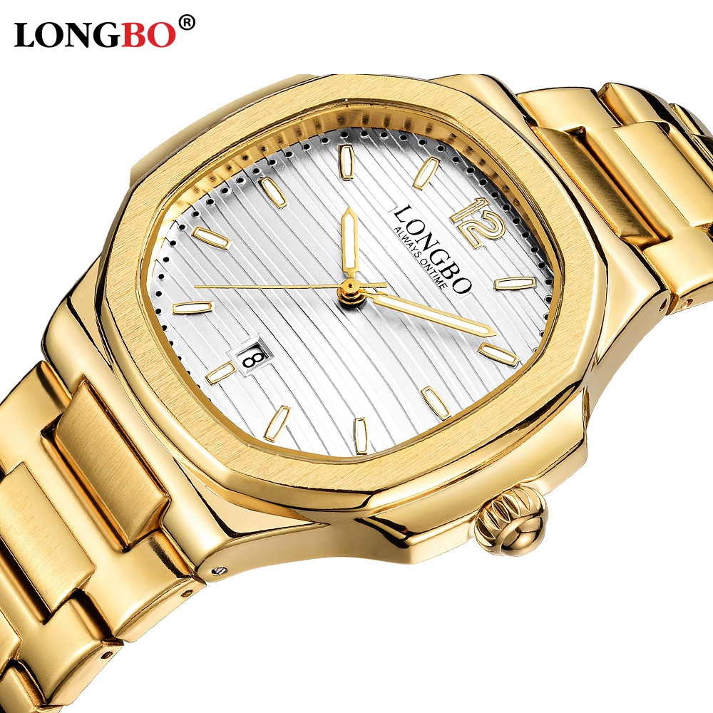 LONGBO Alloy Steel Men Watch 2020 New High Quality Chronograph Men's Top Brand Luxury Gold Watches Men's Gift Quartz Wristwatch