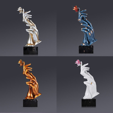 Nordic Creative  Hand And Rose Statues Figurine Resin miniature handwork Crafts Home wedding Decoration ornaments