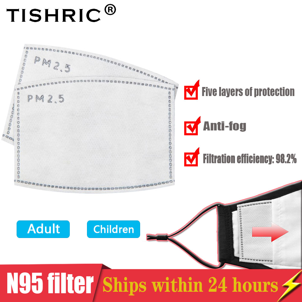 TISHRIC Respirator N95/FFp2/KF94 Mask Filter Protection PM2.5 Activated Carbon Filter AntiDroplet/Haze/Dust Mask For Child Adult