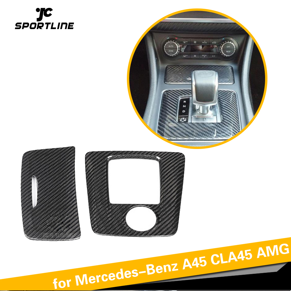 For <font><b>CLA45</b></font> <font><b>AMG</b></font> Interior Trim For <font><b>Mercedes</b></font>-Benz <font><b>AMG</b></font> A45 GLA45 <font><b>AMG</b></font> Carbon Fiber Gear Surround Compartment Base Cover LHD RHD image