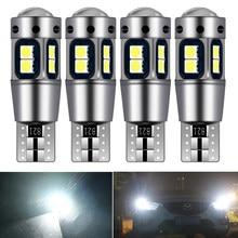 4x W5W T10 LED CANBUS LED ampul araba DRL 3030 SMD 194 168 gümrükleme park lambası okuma İç lamba 12V 6000k beyaz kırmızı Amber