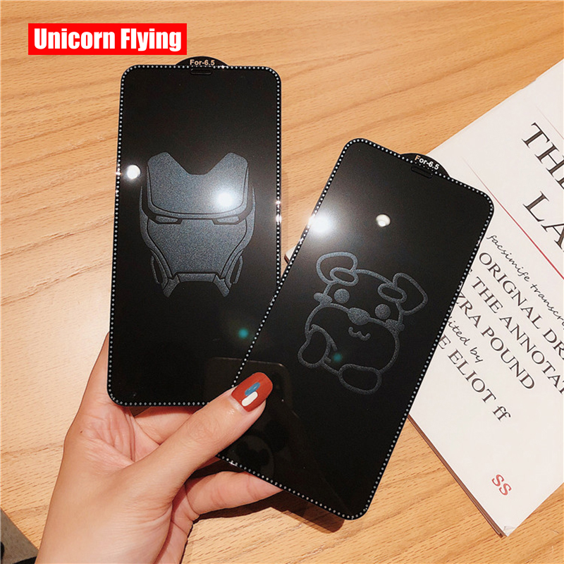 LinXiang Invisible Marvel Iron Man Cartoon Dog 9H 6D Tempered Glass Screen Protector For IPhone 6 6s 7 8 Plus X XR XS Max 11 Pro