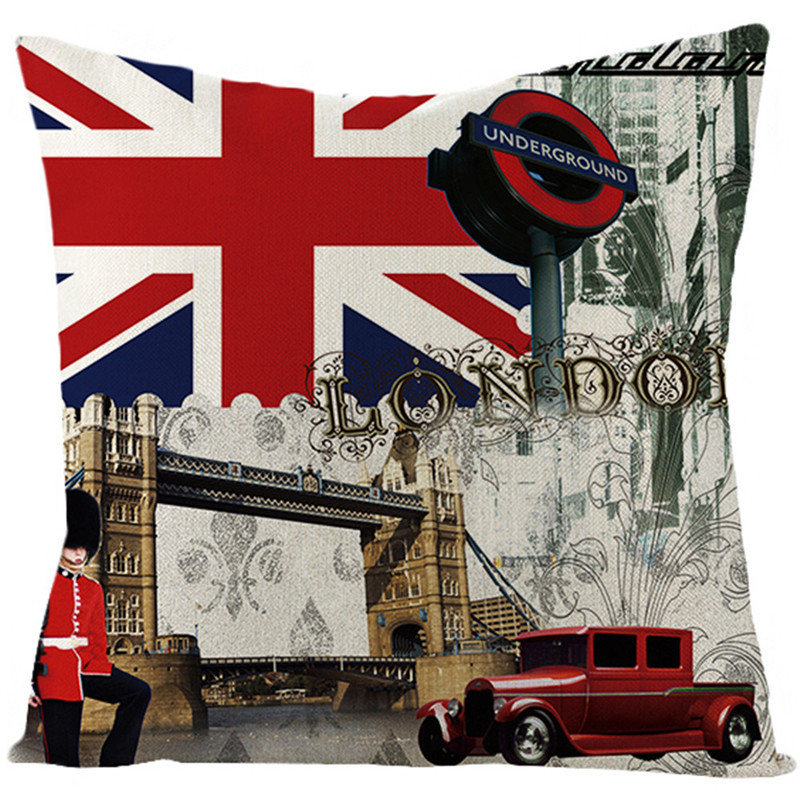 Fuwatacchi Linen Bus Letter Cushion Cover United Kingdom National Flag Pillow Cover for Home Sofa Chair Decorative Pillows 45 45 in Cushion Cover from Home Garden