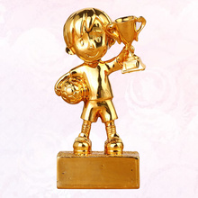 Small Soccer Award Trophy Plating Resin Reward Prizes Decoration Football Sport Awards Trophy with Base (Golden)