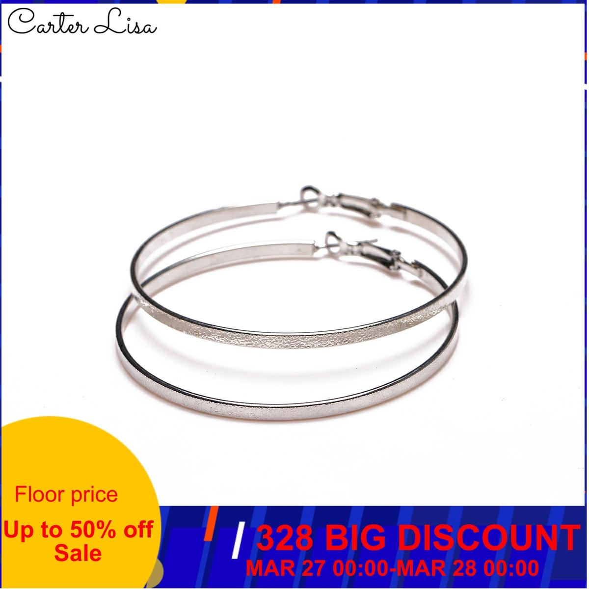 CARTER LISA 2019 New Vintage Sexy Silver Color Smooth Big Circle Hoop Earrings For Women Steampunk Ear Clip Jewelry HEEA-009
