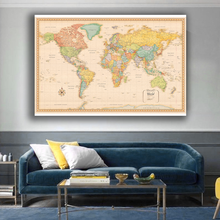 150x100cm World Map Classic Edition Non-woven Vinyl Spray Map Without National Flag Poster and Prints for Home Office Supplies