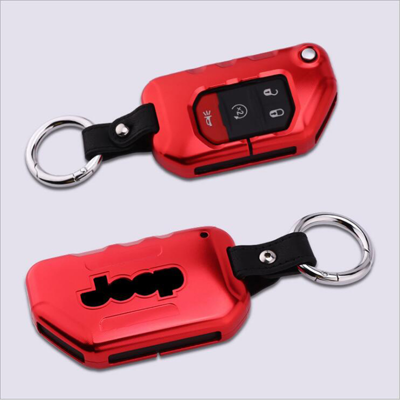 New Aluminium Alloy Car Smart Remote Key Cover Case For Jeep New JL Wrangler 2018 Auto Key Protection Shell Keychain Accessories