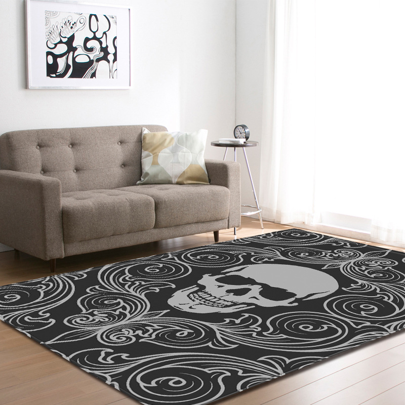 Nordic Skull Carpets For Living Room Home Halloween Party Decor Carpet Kitchen Floor Mat Kids Room Play Area Rugs Christmas Gift