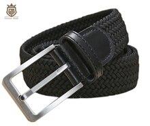 Cinturones elásticos trenzados de alta calidad para hombre, de metal cepillado Hebilla, marrón, Beige, azul y negro