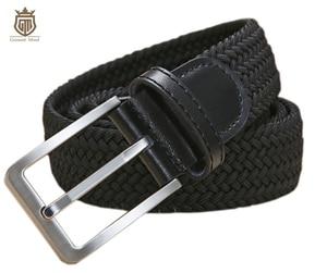 Image 1 - Cinturones elásticos trenzados de alta calidad para hombre, de metal cepillado Hebilla, marrón, Beige, azul y negro