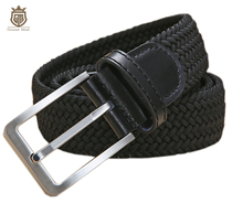 New elastic braided mens belts high quality woven belt brushed metal pin buckle stretch belt for jeans Brown Beige Blue Black