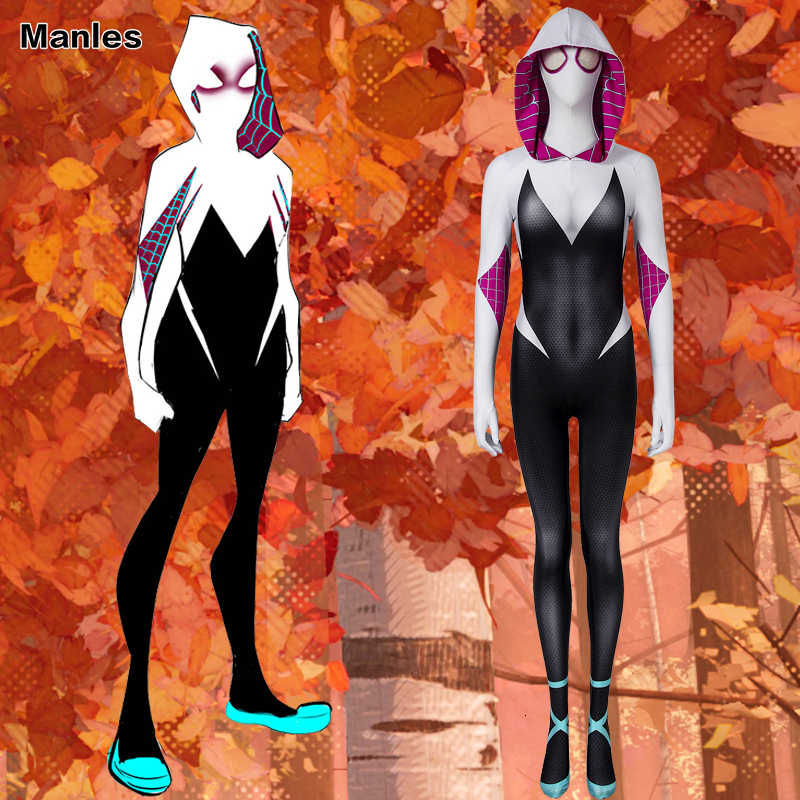 Spider-Man In The Spider-Verse Gwen Stacy Spider-Gwen Costume Cosplay Costume di Carnevale Per Adulti Superhero Spiderman Halloween per Le Donne