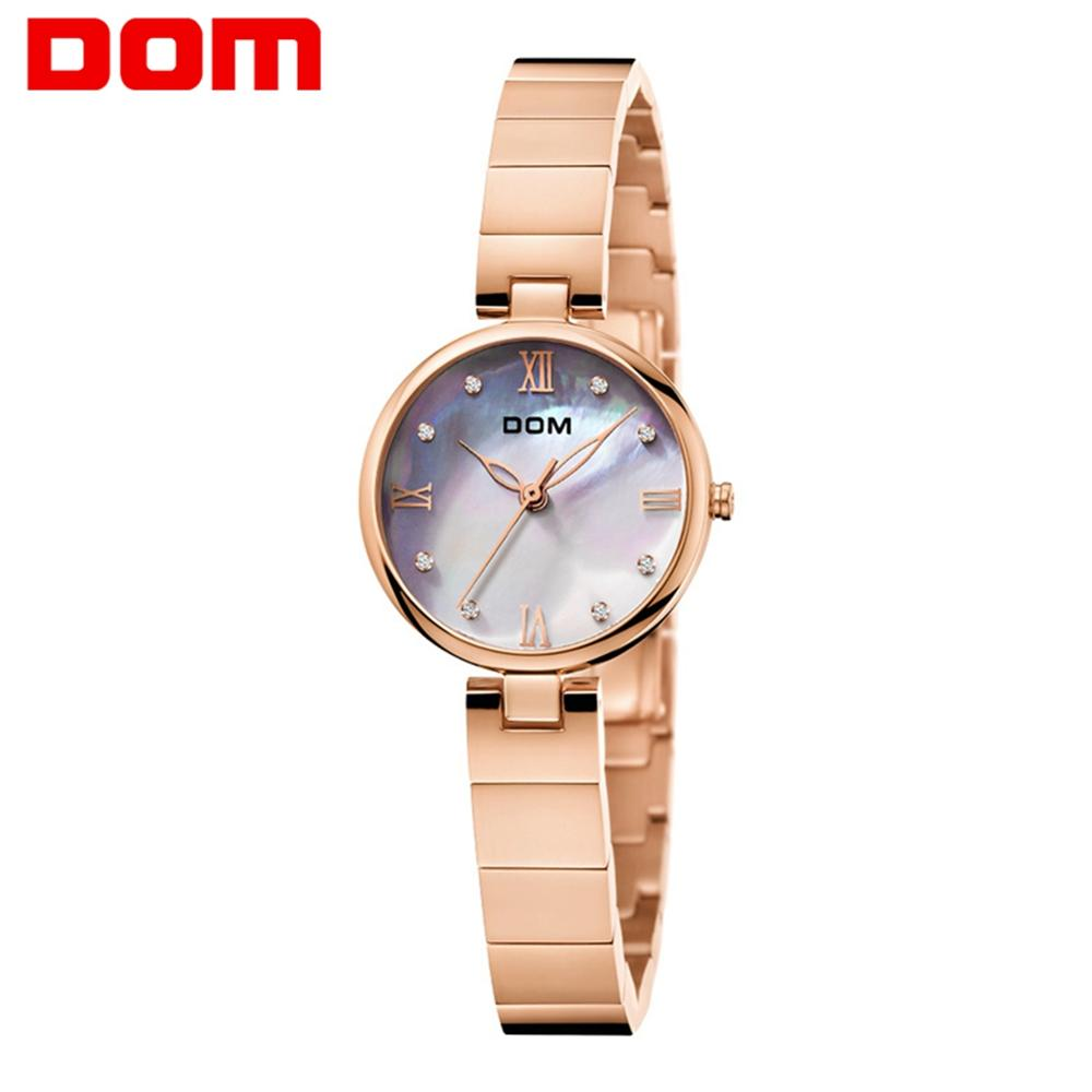 DOM Women Watches Fashion Women Wrist Watch Luxury Brand Ladies Elegant Diamond Clock Quartz Gold Wrist Watch Women G-1267-7M