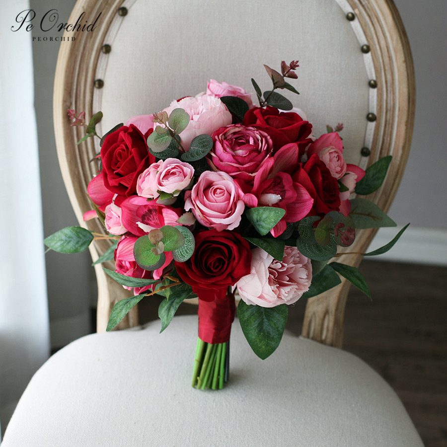 PEORCHID Artificial Burgundy&Pink Bridal bouquet peony real touch bouquet wedding flowers for bridesmaid bride decoration