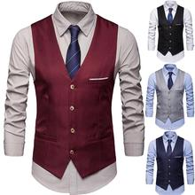 Vests Dress Waistcoat Gilet Business-Vest Fits Formal Casual Mens Sleeveless Male Slim