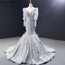 Dubai gris luxe à manches longues robes de soirée col en v plumes perles paillettes robes de soirée 2020 colline sereine HM66952