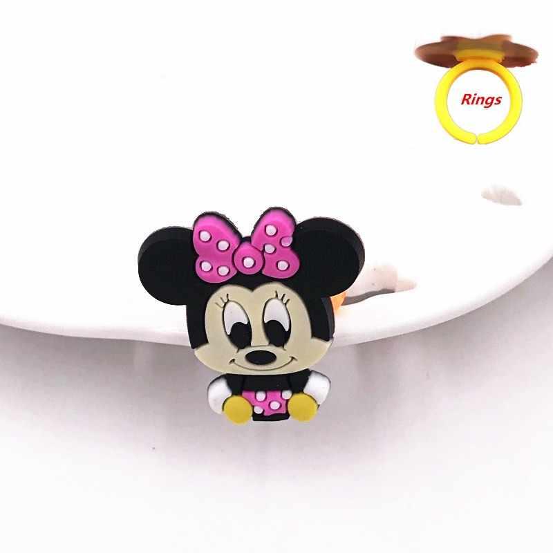 1 pçs dos desenhos animados animal minnie winnie figura personagem anéis de dedo para diy jóias silicone acessórios chaim menina menino presente