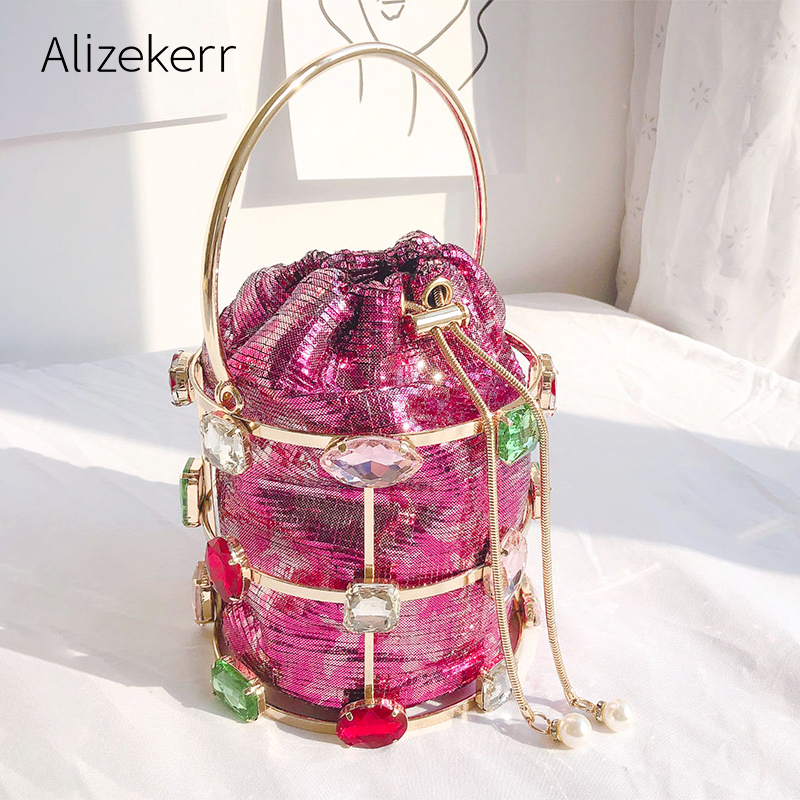 Color Crystals Evening Handbag Women 2019 Luxury Bucket Metal Clutches Bag Ladies Rhinestone Pearl Beaded Purse Wedding Party