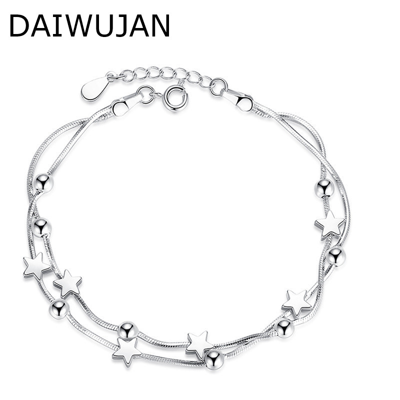 DAIWUJAN Multi-layer 925 Sterling Silver Charm Bracelets Women Girls Star Square Beads Snake Chain Wedding Engagement Jewelry
