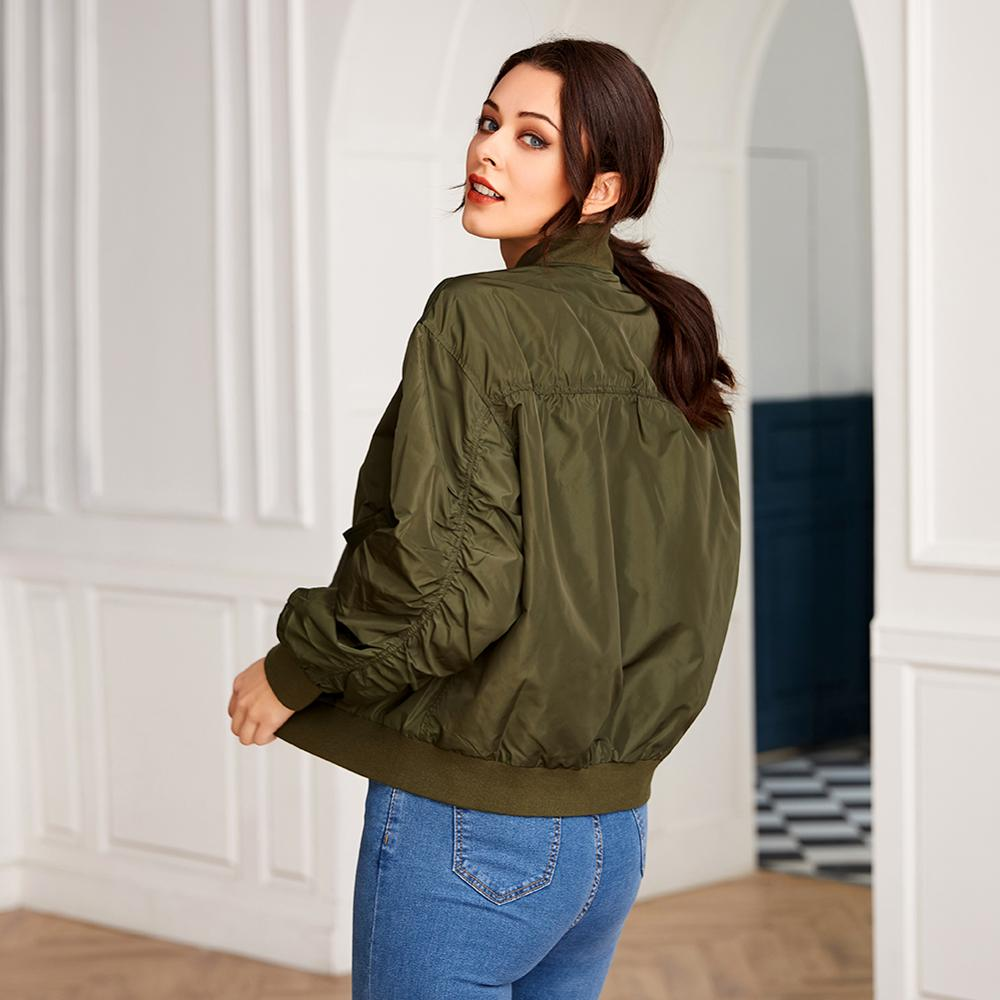 Women's Army Green Long Sleeve Zip Jacket Casual Fashion Motorcycle Jacket Ladies Spring and Autumn Coat