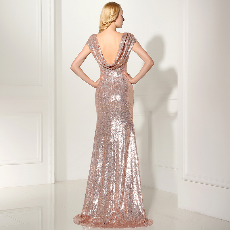 Long Sparkly Rose Gold Mermaid Bridesmaid Dresses Plus Size Sequined Formal Wedding Party Gowns Robe Demoiselle D'Honneur SD347